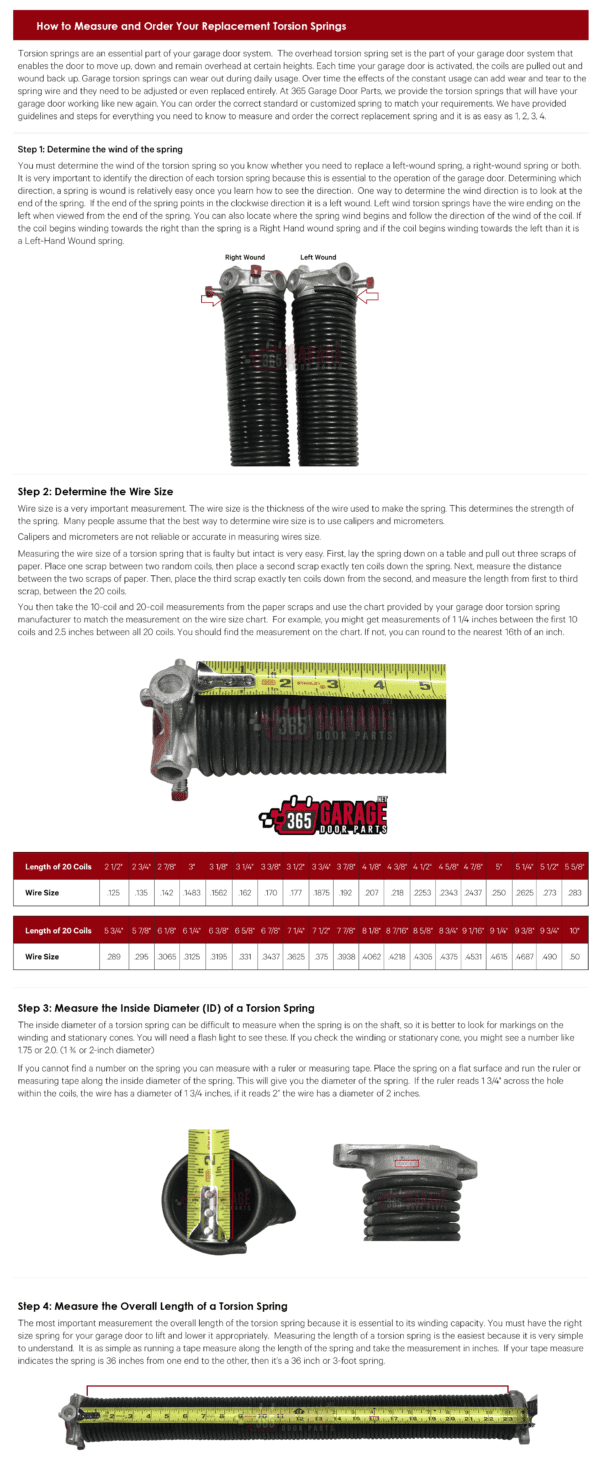 Torsion Spring Chart and Sizes